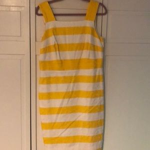 Ann Taylor lined strapped yellow on cream